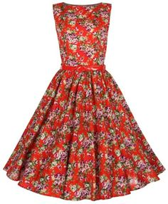 A dress to impress with flower power- Amazon.com: Lindy Bop Classy Vintage Audrey Hepburn Style 1950's Rockabilly Swing Evening Dress (XL, Red): Clothing