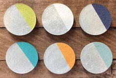Concrete/ cement coasters set of 6 by StoneAndTreeCo on Etsy