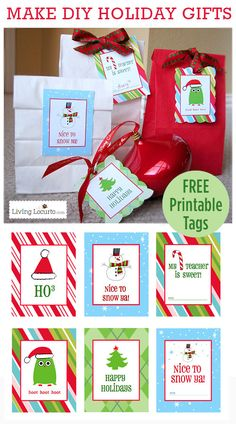 Free Printable Christmas Gift Tags. Perfect for DIY Gifts! LivingLocurto.com