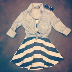 Chambray or jean jacket with sun dress and sunglasses!