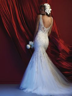 Low back lace wedding gown. Allure Couture wedding dress. Lace, sheer back, wedding dress. Allure Bridal Couture C369. Low back wedding dress.