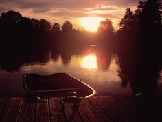 Boot, Abendsonne, Steg, Anlegestelle, Sonnenuntergang