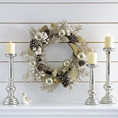 Platinum Cedar and Mercury Glass Wreath | Kirklands
