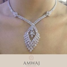 Diamond necklace with character from Amwaj Jewellery. Diamond Gemstone, Gemstone Necklace, Diamond Jewelry, India Jewelry, Jewelry Sets, Fine Jewelry, Jewelry Model, Jewelry Center, Necklace Designs