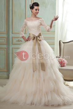 Aライン/プリンセスラインオフショルダー七分袖チャペルトレーンチュールウェディングドレス