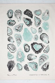 For the devotee of the oyster (and count us among them), the perfect gift: a simply gorgeous tea towel with an intricately detailed print evocative of a vintage scientific illustration. Nicely-sized t Cute Home Decor, Cheap Home Decor, Menu Illustration, A30, Affordable Home Decor, Tea Towels, Printmaking, At Least, Drawings