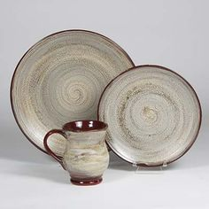 Mayco 149 CordovanStormGrayCombo DinnerwareSet, might frosted sage sub for the storm gray