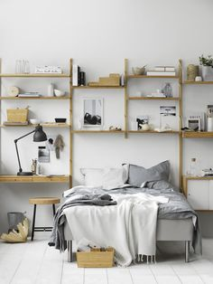 A dreamy ikea bedroom & workspace (Daily Dream Decor) Bedroom Workspace, Ikea Bedroom, Home Bedroom, Bedroom Decor, Bedroom Ideas, Bedroom Shelving, Bedroom 2017, Wall Shelving, Wooden Bedroom