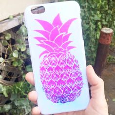 Who said pineapples are just for Summer? This Tumblr inspired phone case is the ultimate accessory for the Fall season! This iPhone case is designed with a vibrant pink pineapple print. The shell is m