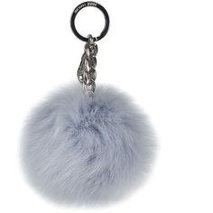 Michael Michael Kors Fur Pom Pom Bag Charm ($73) ❤ liked on Polyvore featuring accessories, dusty blue and michael michael kors