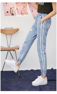 Cheap Ripped Jeans, Womens Ripped Jeans, Harajuku, Boho Fashion, Womens Fashion, Fashion Hats, Winter Mode, Denim Outfit, Preppy Style