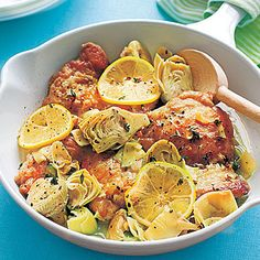 Chicken with Artichokes and Lemon - I love one skillet meals!