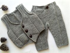 Baby pants,baby vest,toddler pants,toddler vest,boys vest,boys pants,knitted baby clothes,knitted toddler clothes,baby gift,toddler gift by Minnoshko on Etsy