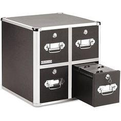 Vaultz Four-Drawer CD File w/Key Lock Holds 660 Discs, 14 1/2 x 15 x 14 3/4, Black