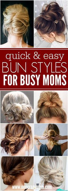 You will love these quick and easy cute bun hairstyles for busy moms. Find 25 messy bun hairstyles that take very little time. Easy bun hairstyles for moms.