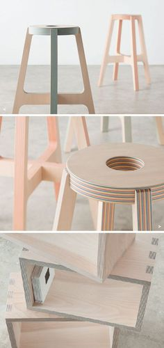layers of wood and colourful paper create Drill Design's spectacular stools