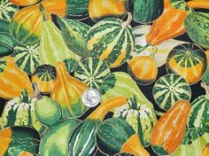 Harvest Squash with Gold  Fabric By The Yard by TheFabricFox, $9.95