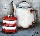 Art by Stella Bruwer white enamel coffee pot red and white stripe sugar tin Painting Still Life, Still Life Art, Abstract Canvas Art, Acrylic Art, Tole Painting, Painting Tips, Stella Art, Coffee Cup Art, South African Artists