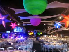 space themed party decor | UV Planets, Space Theme, Outer Space, Moon, Planet Backdrops, Stars ...