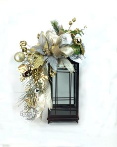 Christmas Lantern Swag w Poinsettia Ornaments Pine Cone Gold Silver -Christmas Mantle Decorations -Lantern Swag Decor -Candle Lantern Decor by SouthernCharmWreaths $65.46 USD