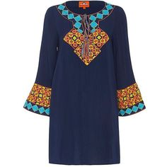 Pia Pauro Embroidered Dress (890 QAR) ❤ liked on Polyvore featuring dresses, long sleeve dress, blue dress, embroidery dress, woven dress and blue long sleeve dress
