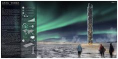The recipients of the eVolo 2016 THIRD PLACE are Valeria Mercuri and Marco Merletti from Italy for the project Data Tower. The proposal envisions a sustainable skyscraper in Iceland designed for Internet servers.