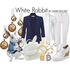 White Rabbit by leslieakay on Polyvore featuring RED Valentino, LE3NO, 7 For All Mankind, cutekawaii, Kate Spade, Alexis Bittar, Allurez, disney, disneybound and timburton