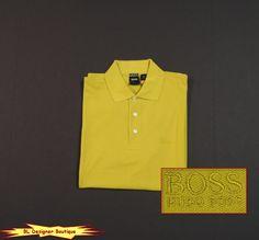 HUGO BOSS 'Ferrara' Regular Fit Pima Cotton Polo Shirts Lemon NEW NWT #HugoBoss #PoloRugby