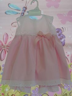 Pink Gingham and Eyelet Baby Dress and Bloomers. $48.00, via Etsy.