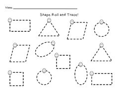 Kindergarten Dragons: roll and trace basic shapes Shape Tracing Worksheets, Tracing Shapes, Printable Preschool Worksheets, Worksheets For Kids, Free Printables, Tracing Lines, Teaching Kindergarten, Preschool Classroom, Preschool Learning