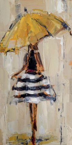 """""""Yellow Umbrella"""" by Kathryn Trotter. It is an oil painting and it has been sold. Not giclee available for this painting. Umbrella Art, Umbrella Painting, Yellow Umbrella, Painting Inspiration, Portrait Inspiration, Woman Inspiration, Love Art, Painting & Drawing, Painting Lessons"""