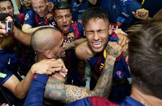 Neymar of Barcelona celebrates scoring his team's third goal with team mates during the UEFA Champions League Final between Juventus and FC Barcelona at Olympiastadion on June 6, 2015 in Berlin, Germany. on June 6, 2015 in Berlin, Germany.