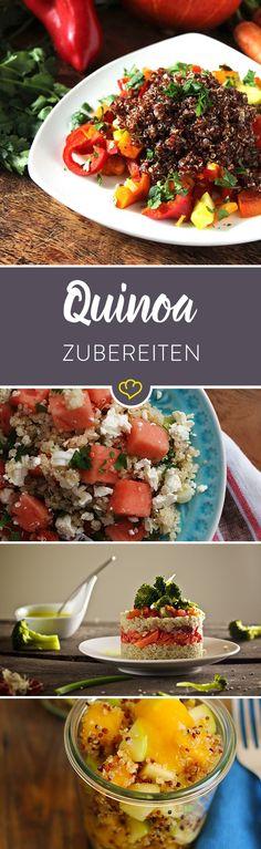 Was macht eigentlich ein Superfood aus? Die Antwort ist ganz simpel: Im Idealfall bietet es bei einer überschaubaren Kalorienanzahl reichlich Vitamine und Mineralstoffe und macht auch noch lange satt. Quinoa erfüllt gleich alle drei Anforderungen.  Pro 100 g kommt Quinoa (ungekocht) auf ca. 365 Kalorien. Aber was es eigentlich besonders macht: Zum einen ist es reich an Eiweiß (ca. 13 g) und Ballaststoffen (ca. 7 g), kommt dabei aber nur auf etwa 6 g Fett. Zum anderen bietet es viel Kalzium.