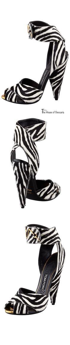 Tom Ford ~ Zebra Print Pin-Detail Ankle Strap Sandal, 2015