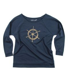 Look what I found on #zulily! Navy Ship Wheel Three-Quarter Sleeve Slouchy Pullover #zulilyfinds