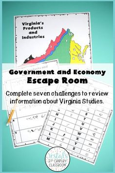 Are you looking for a fun way to review Virginia Studies SOL VS.10? This Virginia Government and Economy Escape Room is the perfect review activity to use at the end of a unit or before state testing! #vestals21stcenturyclassroom #virginiastudies #virginiastudies4thgrade