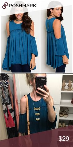 "NWT Cold Shoulder Tunic Top Flutter Sleeve Very feminine and easy to style for day or night. 💕 95% Rayon, 5% Spandex | Nice material thickness and great quality to this shirt! True to size, but if you are in between size up. My personal non stock pics make the shirt look a tad darker than it is- bad lighting. Select the ""bundle"" option for a discount! 🇺🇸 Made in the USA 👌 Tops"