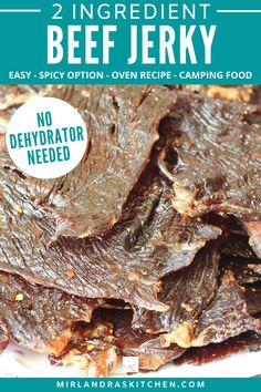 You don't even need a dehydrator for this recipe! All you need is your oven and beef and yoshida sauce.  This beef jerky is a wonderful camping food, road trip snack, lunchbox treat, and it is the perfect homemade Christmas gift. #easy #homemadechristmas #beef #camping #lunchbox Jerky Recipes, Oven Recipes, Snack Recipes, Oven Jerky, Healthy Dinner Options, Healthy Choices, Homemade Beef Jerky, Easy Summer Desserts, On The Go Snacks