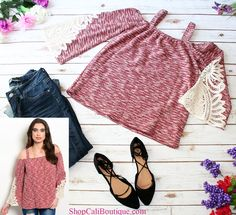 Cali Boutique | FREE U.S. shipping | Burgundy Off The Shoulder Crochet Top, Rock & Royal Distressed Skinny Jeans, Black Lace Up Flats