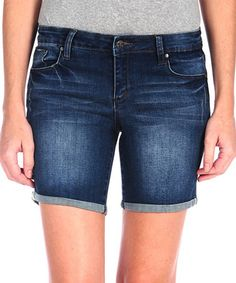 Look what I found on #zulily! Indigo Five-Pocket Mid-Thigh Bermuda Denim Shorts by Tractr #zulilyfinds