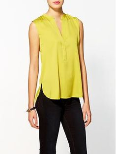 Vince Silk Sleeveless Half Placket Top | Piperlime
