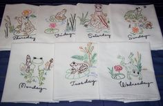 """Hand Embroidered """"Frog"""" Days of the Week Tea Towel/Dish Towel Set"""