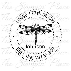 SELF INKING Custom Address Stamp - Dragonfly Circle Address PR238 on Etsy, $24.95