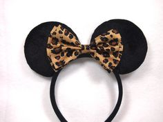 Minnie Mouse Ears  Brown Leopard Bow by PhantomManorBoutique, $9.00