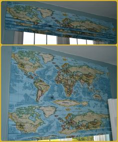 Wonderful Atlas fabric is used for this Roman blind to take a little boy through to his teenage years. Fabric Blinds, Curtains With Blinds, Made To Measure Blinds, Roman Blinds, Teenage Years, Vintage World Maps, Windows, Interiors, Facebook