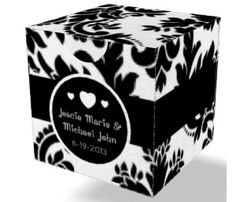 Antique Black & White 3x3x3 Paperboard Box | Custom Boxes | ThePaperWorker.com    Personalize with your own Graphics, Photos, Initials & Dates! | Custom Wedding Favor Boxes | ThePaperWorker.com    #wedding #favor #shower #gifts