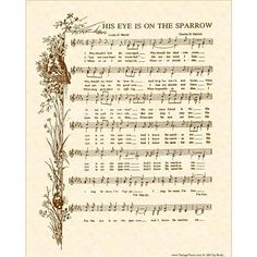 His Eye Is On The Sparrow Hymn - Hymn Wall Art - Custom Christian Home Decor - Vintage Verses Sheet Music - Inspirational Wall Art - Sepia Gospel Song Lyrics, Christian Song Lyrics, Gospel Music, Christian Music, Music Lyrics, Music Songs, Lyric Art, Lyric Quotes, Quotes Quotes