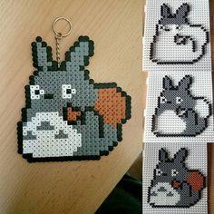 Totoro keyring perler beads by ihooksy94