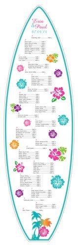Tropical Hawaiian Hibiscus 6' Surfboard Seating Chart