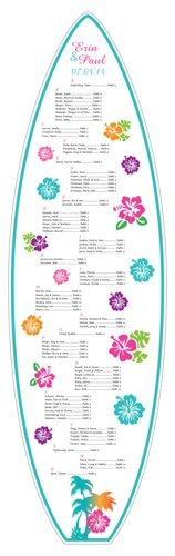 Tropical Hawaiian Hibiscus 6' Surfboard Seating Chart